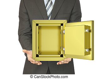 Man in a suit holding open gold safe
