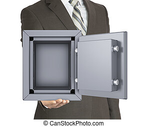 Man in a suit holding open safe