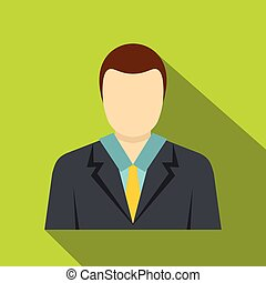 Man in a suit icon, flat style