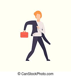Man in a suit running with briefcase, businessman character is late for work vector Illustration on a white background