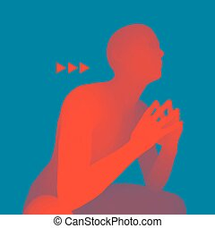 Man in a Thinker Pose. 3D Model of Man. Vector Illustration....