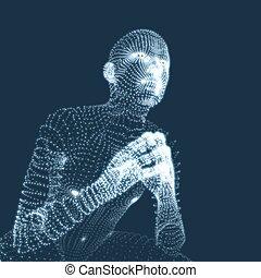 Man in a Thinker Pose. Psychology or Philosophy Illustration.