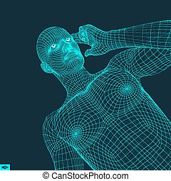 Man in a Thinker Pose. Psychology or Philosophy Vector Illustration.