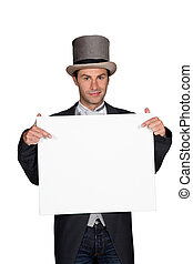 Man in a top hat and tails holding a board left blank for your message