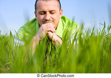 Man in a wheat field