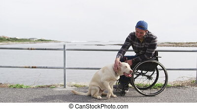 Man in a wheelchair enjoying free time with his dog
