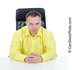 Man in a yellow shirt