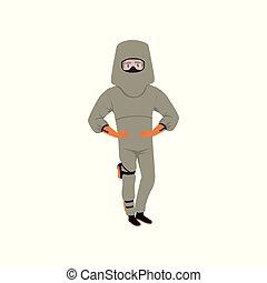 Man in advanced bomb suit and helmet. Explosive ordnance disposal technician. Dangerous profession. Flat vector design
