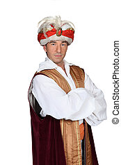 Man in an Arabian sultan costume