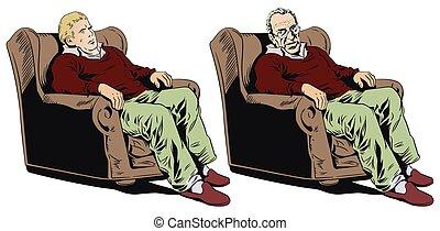 Man in armchair. Stock illustration.