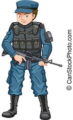 Man in army suit carrying a gunfire illustration