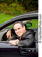 man, in auto