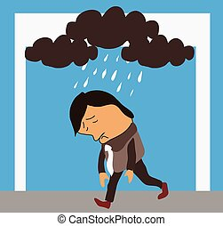man in bad mood vector illustration.