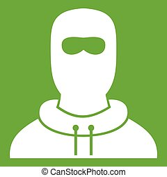 Man in balaclava icon green