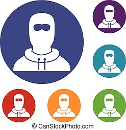 Man in balaclava icons set