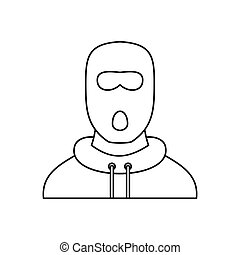 Man in balaclava mask icon, outline style