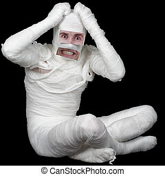 Man in bandage with false eyes and mouth
