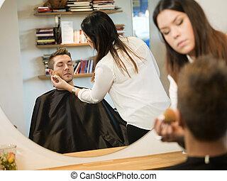 Man in Beauty salon