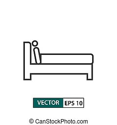 Man in bed icon. Outline style. Vector illustration EPS 10