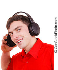man in big headphones listening music