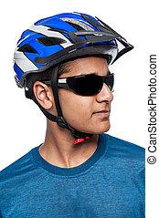 Man in Bike Helmet.