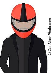 Man in biker helmet.