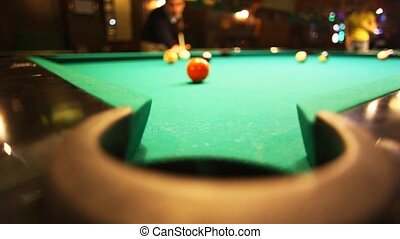 man in billiards shoots orange ball in pocket