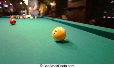 man in billiards shoots yellow ball in pocket