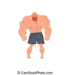 Man In Black Boxers Bodybuilder Funny Smiling Character On Steroids Demonstrating Muscles In Front Lat Spread Pose As Strongman Routine