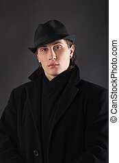 Man in black cloth and hat - Portrait of man in black cloth ...