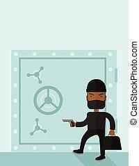 Man in black hacking bank safe.