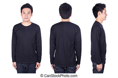 man in black long sleeve t-shirt isolated on white background