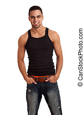 Man in Black Shirt and Jeans