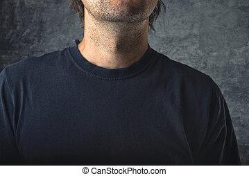Man in black shirt as copy space