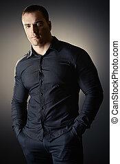 man in black shirt