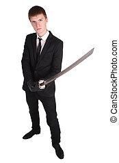man in black suit and katana sword