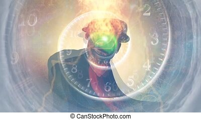 Man in black suit. Green apple face. Time spiral in vortex of clouds