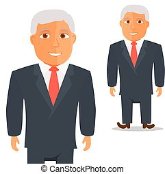Man in Black Suit with Red Tie Cartoon Character. Vector