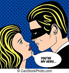Man in black superhero mask and woman love couple in vintage pop art comic style