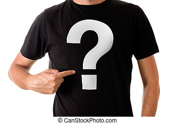 Man in black t-shirt with question mark