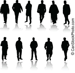 man in black vector silhouettes