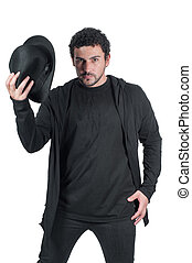 Man in black with his black hat