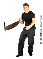 man in black with saw