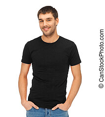 man in blank black t-shirt - clothing design concept -...