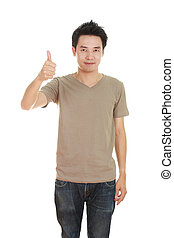 man in blank brown t-shirt with thumbs up