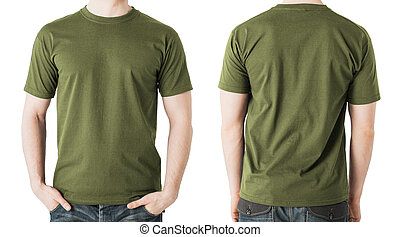 man in blank khaki t-shirt, front and back view - clothing...