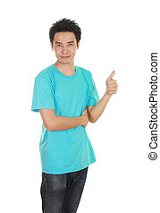 man in blank t-shirt with thumbs up