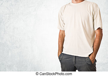 Man in blank white t-shirt - Slim tall man posing in blank...