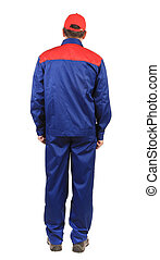 Man in blue and red overalls