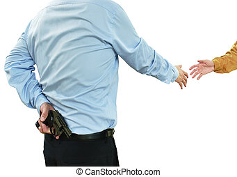 man in blue business shirt hiding gun while shake hand to another people concepts betray and insincere on white background